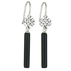Long Onyx Celtic Top Earring
