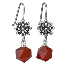 Cut Carnelian Flower Top Earrings
