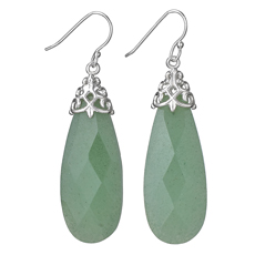 Large Facet Jade Earrings