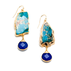 Gold Thema Earrings in Cobalt and Turquoise