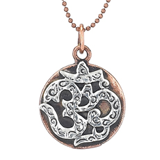 Silver Om on Copper Disc Necklace