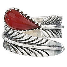 Carnelian Feather Ring