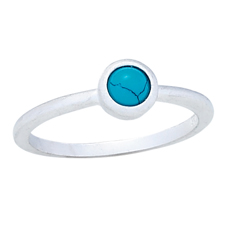 Matte Silver Turquoise Stack Ring
