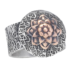 Silver Disc with Copper Flower Ring