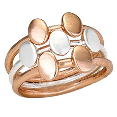 Silver Copper Flat Ball Stack Ring