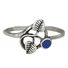 Small Round Lapis Two Leaf Ring