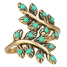 Turquoise Studded Leaf Ring