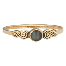 Round Onyx Small Curly Side Ring