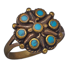 7 Turquoise Bronze Ring