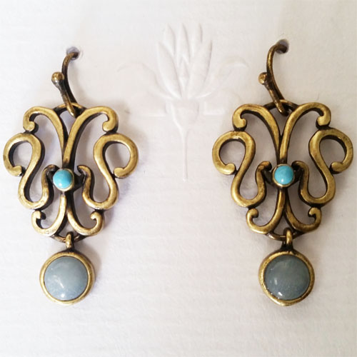 Turquoise and Amazonite Drop Brass Earrings
