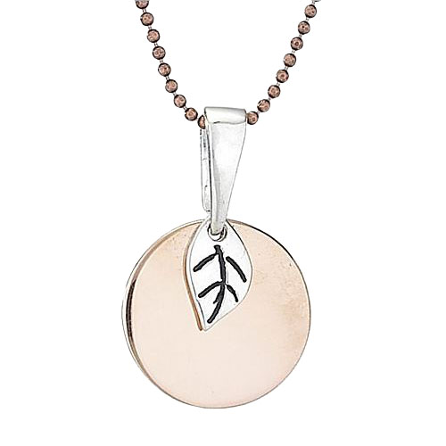 Copper Circle and Silver Leaf Necklace