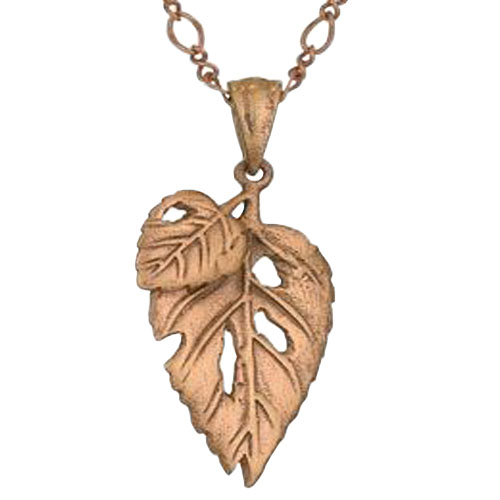 Copper Double Leaf Necklace