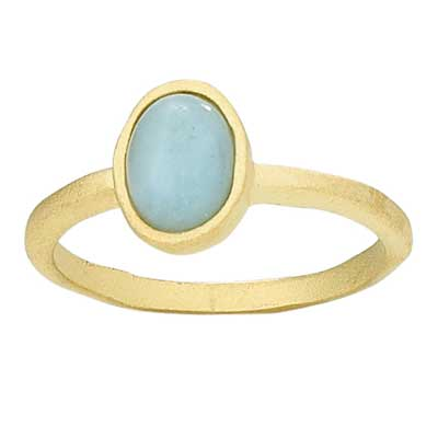 Small Gold Plated Amazonite Stack Ring